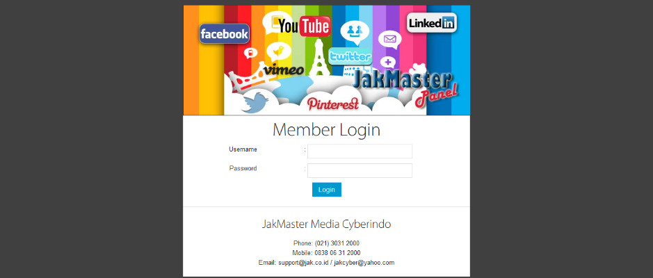 Demo JakMaster Panel SEO & Social Media (Facebook, Twitter, Instagram, Kaskus, Web Traffic, Backlinks)